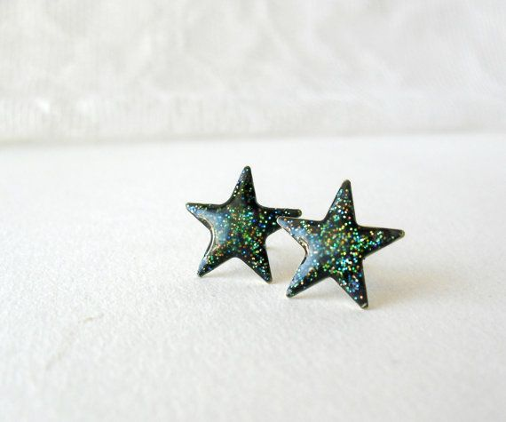 Galaxy glitter star posts earrings Astronomy by DivineDecadance