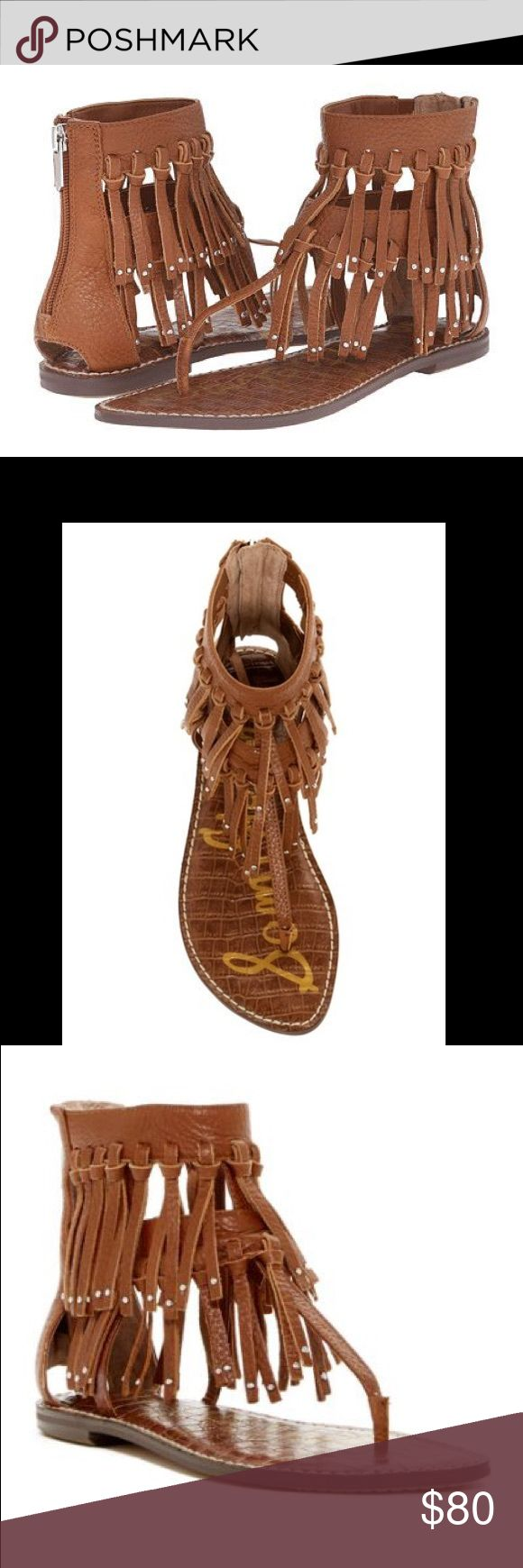 """NEW Sam Edelman Griffen Fringe Boho Gypsy Sandal NEW in Box $130 Sam Edelman Griffen Fringe Boho Gypsy Sandal In Size 8.5. Saddle color. Soft, stud-tipped fringe lends bohemian allure to a trend-savvy thong sandal shaped from supple tumbled leather and set on a flat, slim sole. Lightly padded cork footbed . 5"""" shaft  Back zip closure. Leather upper/synthetic lining and sole.photos are main part of description. Same or next day shipping. Holiday gift wrap available upon request. Feel free to…"""
