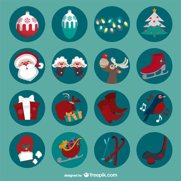 楽しいクリスマスをテーマにした可愛いイラストアイコンセット