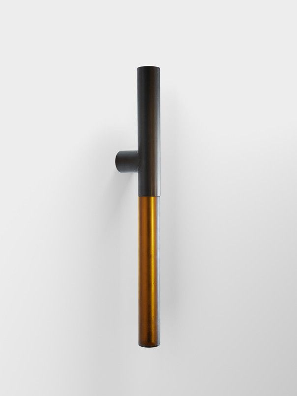 "Tom Kundig Collection Designed by: Tom Kundig Door pull fabricated from blackened steel pipe, with hand-poured cast resin grip, 2""..."