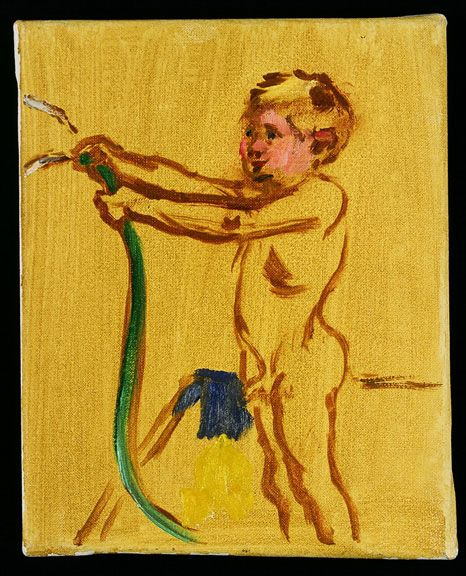 Sandra Fisher Study of Max with Hose c.1986 oil on canvas, 10 x 8 inches  Private Collection (c) Estate of Sandra Fisher