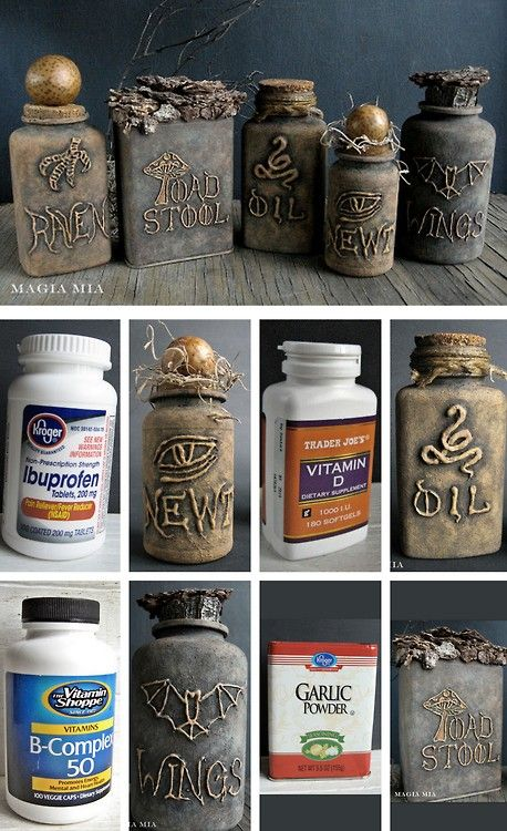 halloweencrafts: DIY Halloween Apothecary Jars' Tutorial from Magia Mia. Turn plastic vitamin bottles into creepy apothecary jars using a glue gun and chalkboard paint.