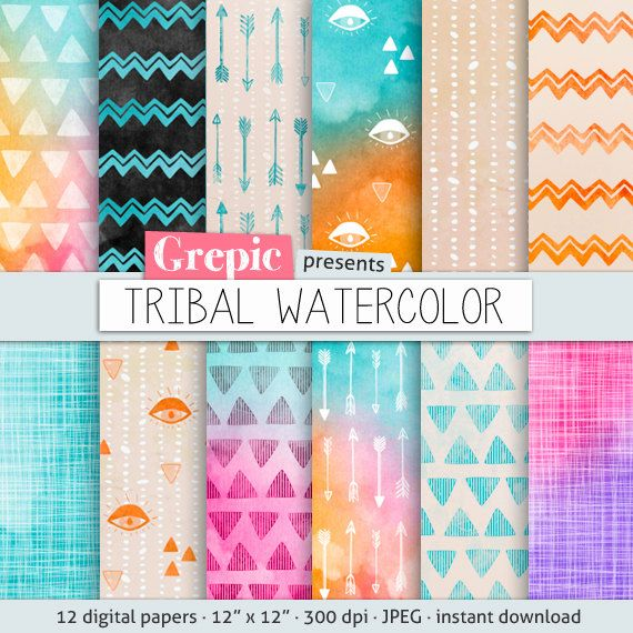 Tribal digital paper TRIBAL WATERCOLOR with playful hand by Grepic, $4.80  https://www.etsy.com/listing/171120801/tribal-digital-paper-tribal-watercolor?ref=sr_gallery_30&ga_order=date_desc&ga_view_type=gallery&ga_ref=fp_recent_more&ga_page=56&ga_search_type=all