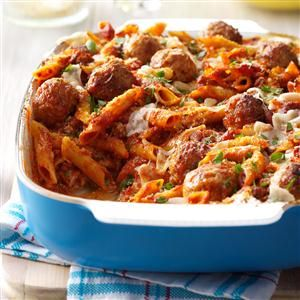 Three-Cheese Meatball Mostaccioli Recipe from Taste of Home