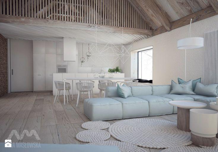 Projekt wnętrz domu pod Białymstokiem_wersja1 - Duży salon z kuchnią z jadalnią z antresolą, styl skandynawski - zdjęcie od Ania Masłowska