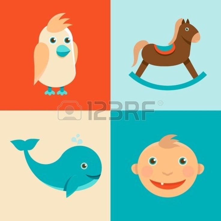 Vector icons and signs in flat style - concepts and illlustration for kids Stock Vector