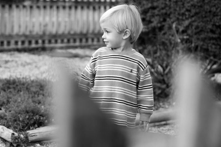portrait, north carolina, new york city, toddler, boy, stripes, fence, blonde, outdoors, black and white, beth berg photography, bethberg.com