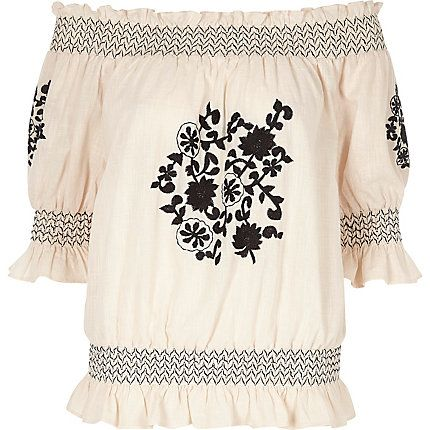Cream floral embroidered shirred bardot top £35.00