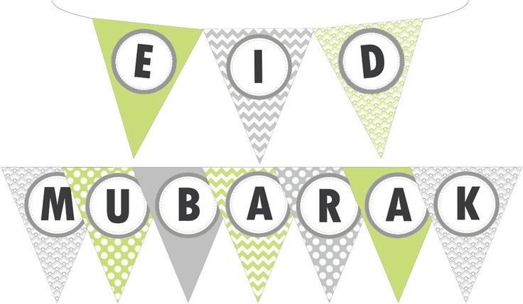Printable EID MUBARAK pennant banner flag - custom colours DIY - lime green and grey. $6.00, via Etsy.