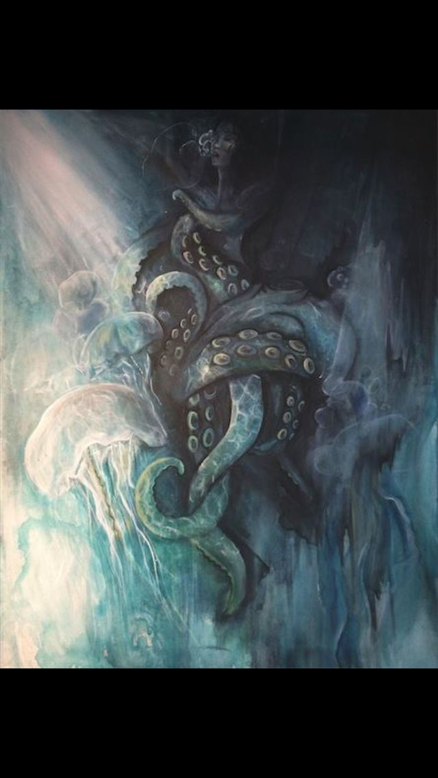 Noyade. 28X36 acrylique sur toile # octopus # pieuvre # envoûtement # abandon # mer # océan
