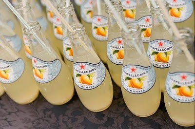 Lemon flavored (yellow) Pellegrino would be so cute for pre wedding refreshments