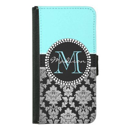 Black silver gray Damask turquoise aqua blue Wallet Phone Case For Samsung Galaxy S5 - custom diy cyo personalize gift ideas