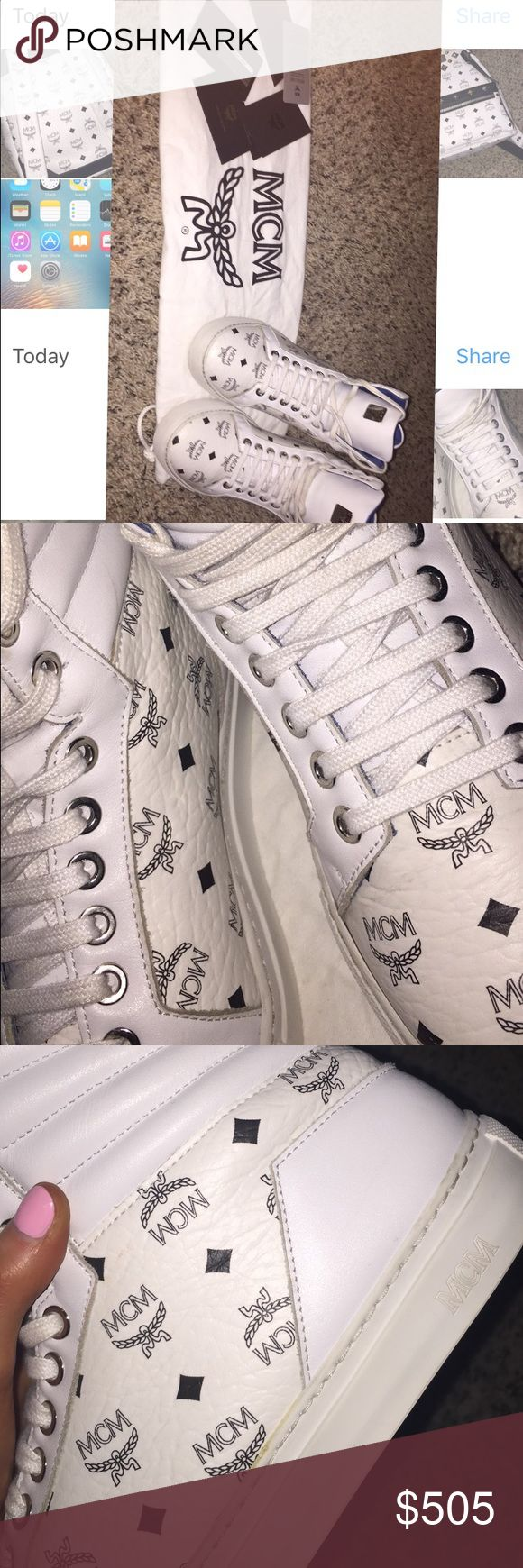 100%authentic unisex mcm shoes 100% authentic white mcm shoes great condition Ive looked around at the shoes and see no flaws no smells no tears nothing like that but the shoe laces are a little dirty (I'm going to be washing them) these shoes are a men's 5 1/2 but I'm pretty sure that's like a 7 in women's cause that's what size women's shoe I wear there just like brand new I have no box but dust bag is included there so comfy and go super cute with the matching backpack (available in my…