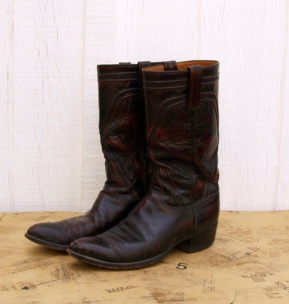 Vintage Lucchese Western Boots, Oxblood, Black Cherry, Men's