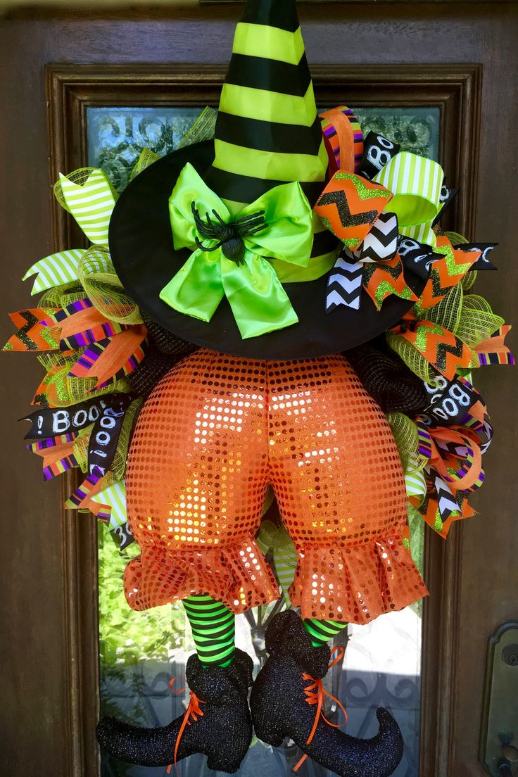 Witch bottom wreath in orange and green for Halloween