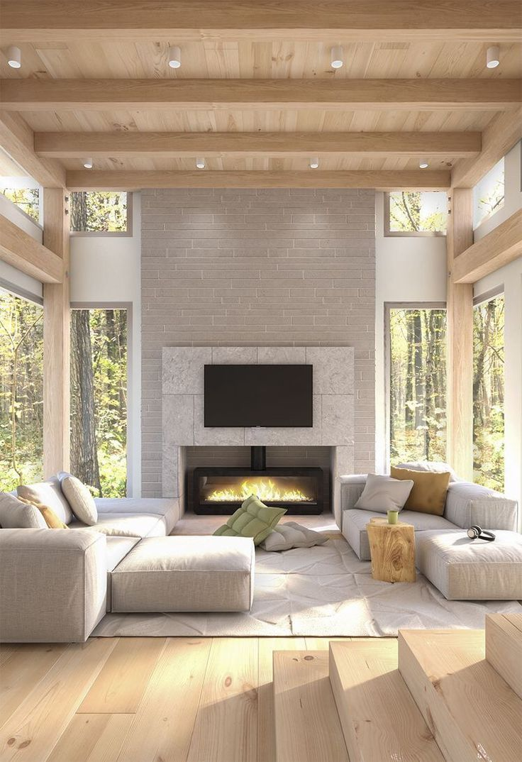 Spacious Modern Living Room Wood Ceiling With Exposed