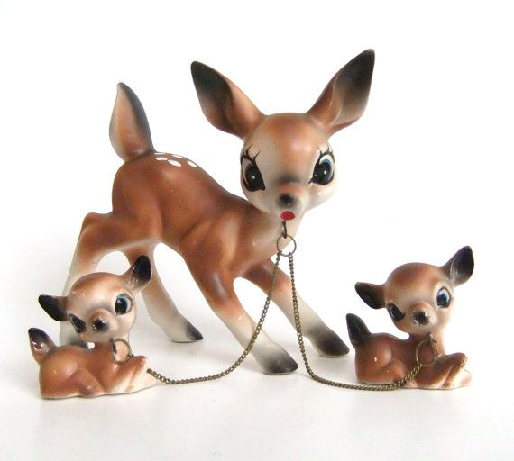 Ceramic Deer Figurines Doe And Fawn Figurines Chain