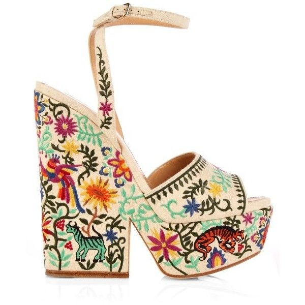 Sergio Rossi Cacoon embroidered wedge sandals ($1,324) ❤ liked on Polyvore featuring shoes, sandals, cream multi, stitch shoes, wedge sandals, wedges shoes, high heel platform shoes and safari shoes