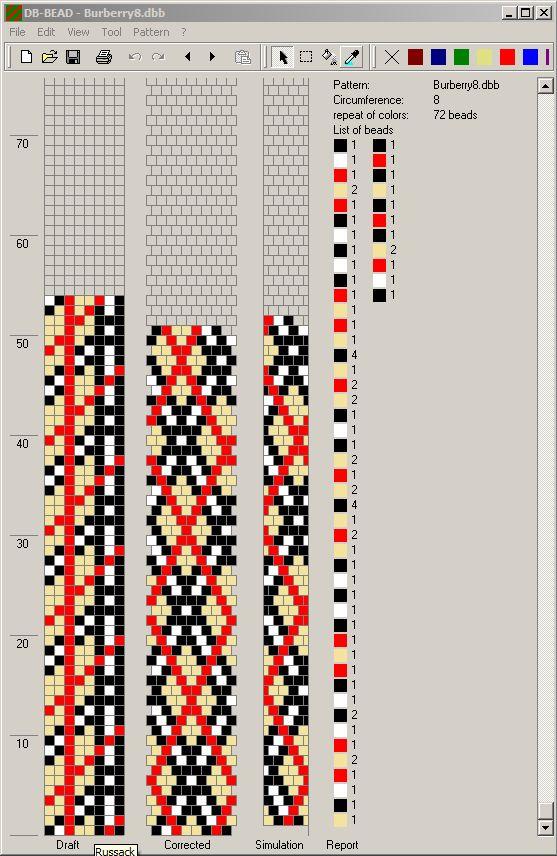 Bead crochet rope pattern - plaid - 8 around, 3 colors