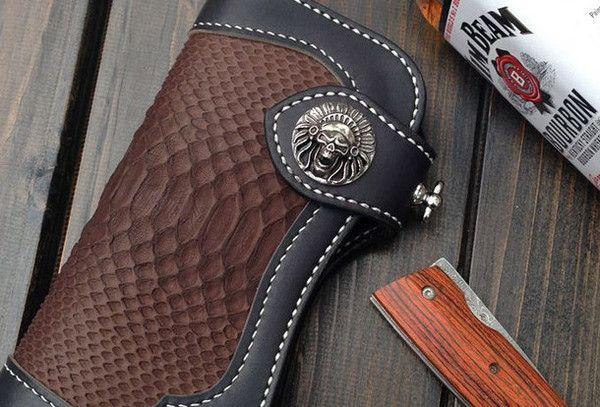 Ручная байкер водителя грузовика кожаный бумажник цепи мужчины Боа кожи кофе черный бумажник