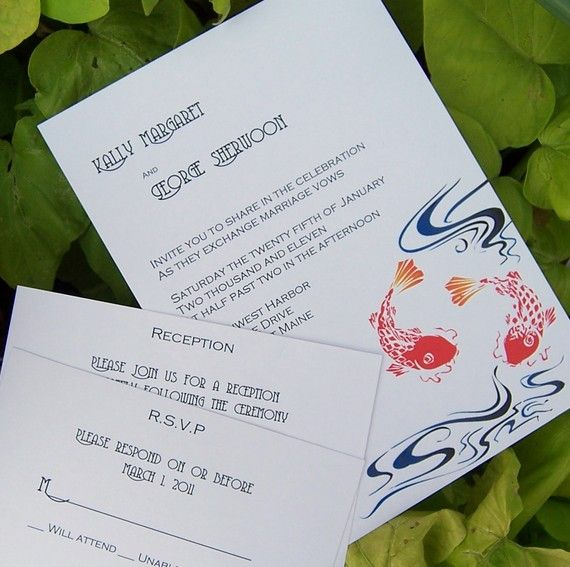 27 best referncias japonesas images on pinterest invitation koi invitation koi wedding invitation japanese by theextradetail 199 stopboris Image collections