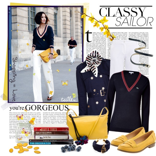 Classy sailor: yellow, navy, stripes: Navy Stripes, Clothing Style, Fashion Style, Sailors Love, White Pants, Classy Casual, Classy Sailors, Nautical Theme, Polyvore Fashion