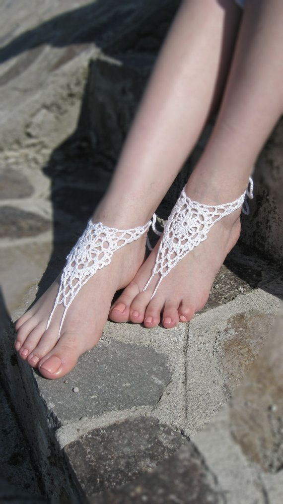 Beach wedding White Crochet Bridal Barefoot Sandals, Nude shoes, Foot jewelry, Bridal, Victorian Lace, Anklet  $13.00 USD