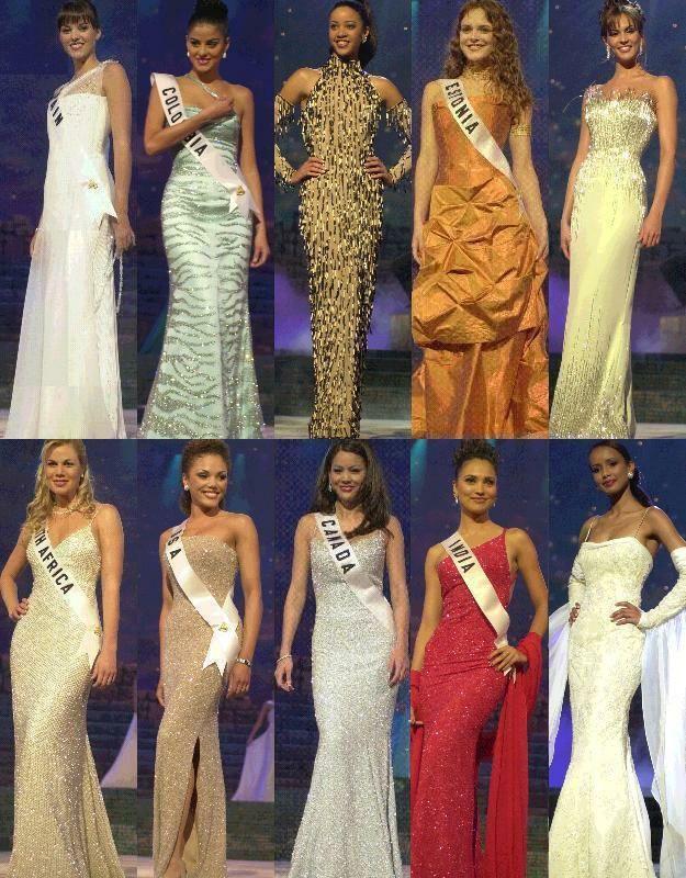El Top 10 de Semi finalistas, luego de la presentación en Traje de Gala, en el Certamen de Miss Universe 2000...