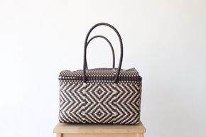 Brown & Cream Tote Bag, Handmade Mexican Bag, Travel Bag, Picnic Basket, Beach Bag, Pool Bag, Mexican Gifts, Woven Bag, Gifts for her