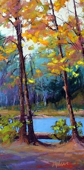 River Trees by Susan Ogilvie Pastel ~ 24 x 12