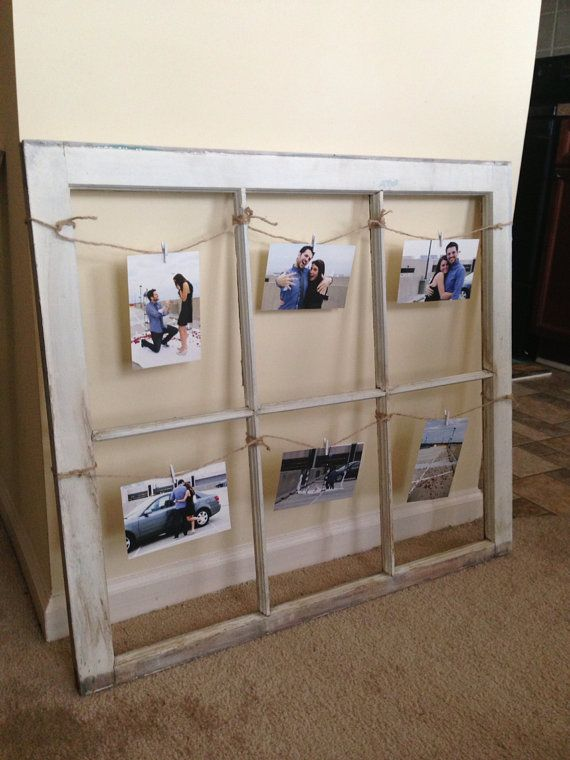 old distressed wooden window frame picture display