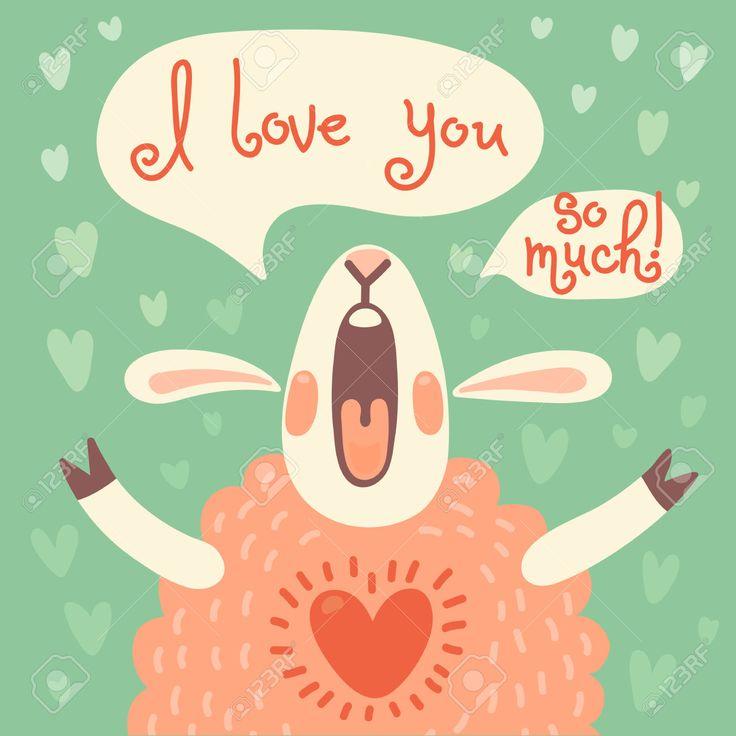 Карта на день рождения или другой праздник с милой овец и признание в любви Векторные иллюстрации Клипарты, векторы, и Набор Иллюстраций Без Оплаты Отчислений. Image 30937078.