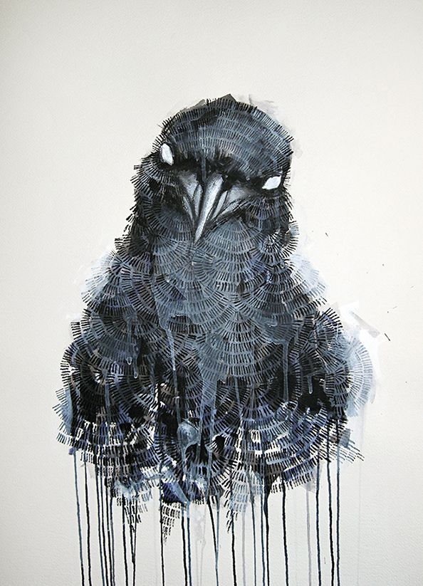 'The Raven' Mixed media on watercolour paper 55cm x 75cm painting by Michael Cain- Gnashing Teeth (gnashingteeth)