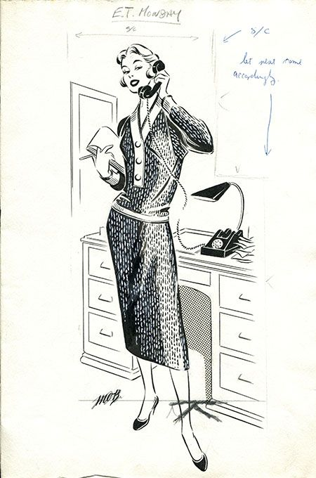 Margaret Oliver Brown fashion illustrator (archive reference: DC/51/2/9).