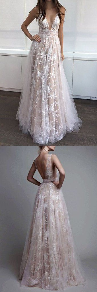 Charming Deep V Neck Sexy Applique Tulle Lace Long Prom Dresses, BG51532