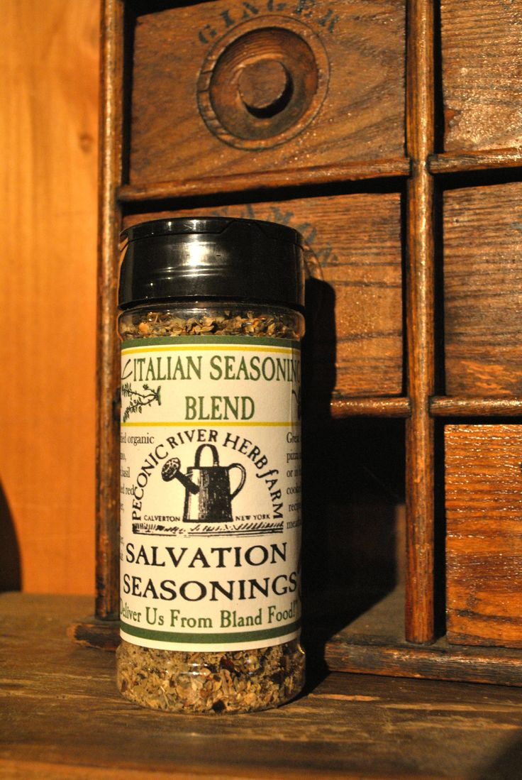 Italian Seasoning Blend - Great on pizza and pasta or in a fresh/cooked tomato recipe and meatball mix. $7.95  Find it in the Outside In garden shop at the Peconic River Herb Farm! #mangia! #pizzatopper#deliverusfromblandfood #italianseasoning