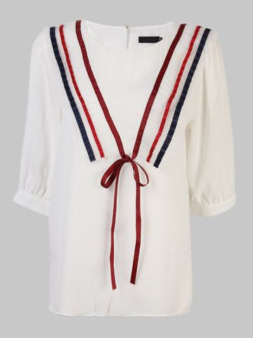 Casual Stripe Patchwork Bow-knot Chiffon Tops For Women