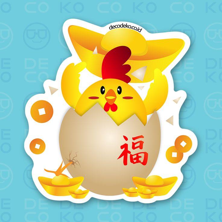 Sticker Fire Rooster Shio