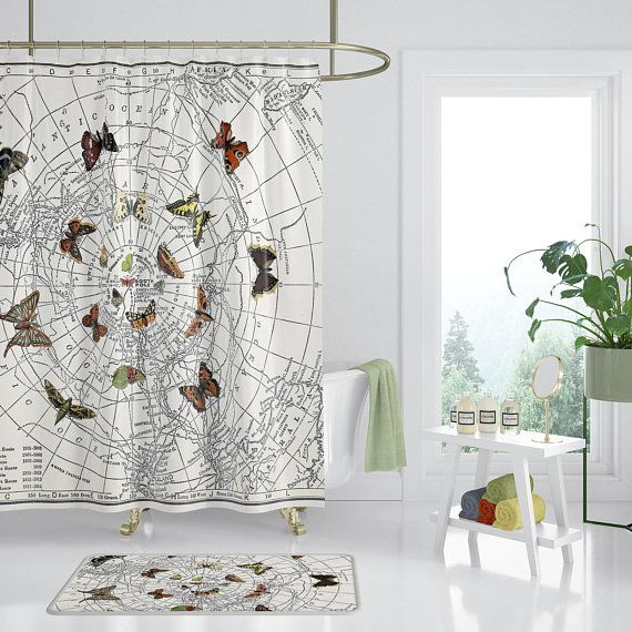 Butterfly Shower Curtain Map Unique Retro Earth Tone Travel