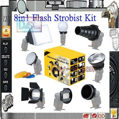 Купить товар8 в 1 универсальный вспышка Strobist комплект вспышку комплектующие адаптер Softbox диффузор для flash speedlite YN568 580EX 600EX в категории Рассеиватели для вспышкина AliExpress.        Это  с гордостью представляем новейшие Strobist аксессуары: Этот удивительный комплект!             Это Str