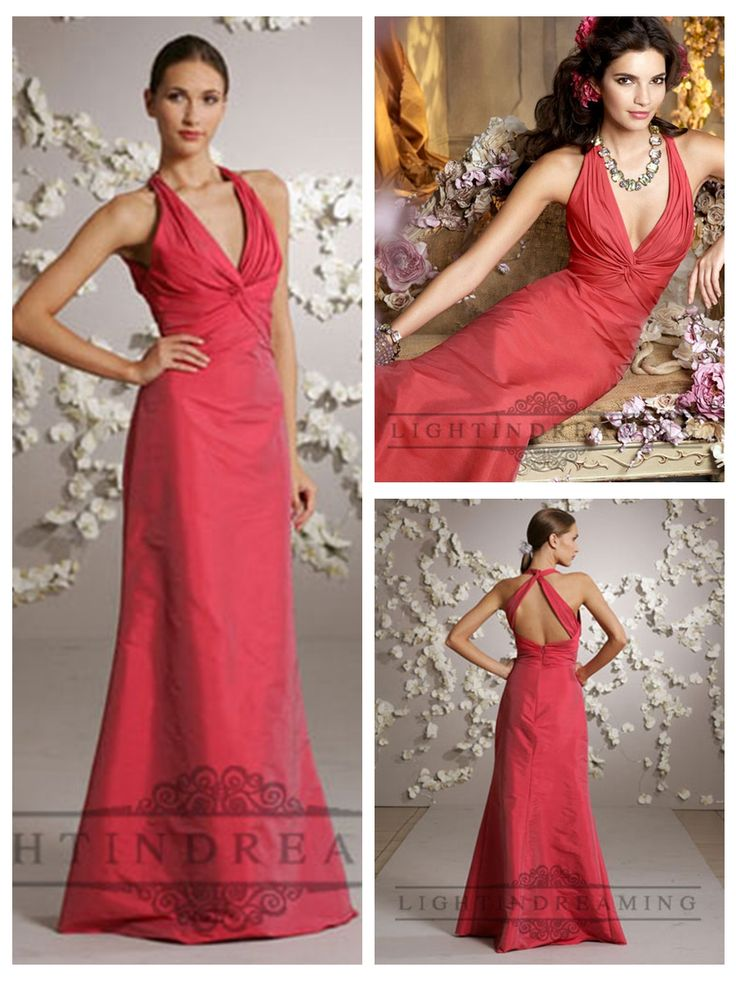 Cherry Halter A-line Deep V-neck Bridesmaid Dresses with Criss-cross Back