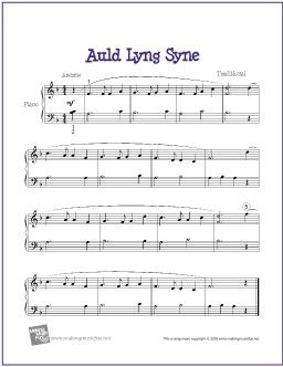 Auld Lang Syne | Free Sheet Music for Easy Piano - http://makingmusicfun.net/htm/f_printit_free_printable_sheet_music/auld-lang-syne-piano.htm
