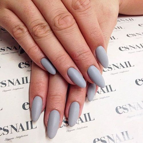 Long Grey Matte Nails