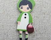 10 Little Green Riding Hood Wood Printed Buttons. 4cm Tall.