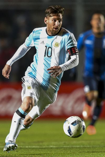 Argentina's forward Lionel Messi controls the ball during a friendly football…
