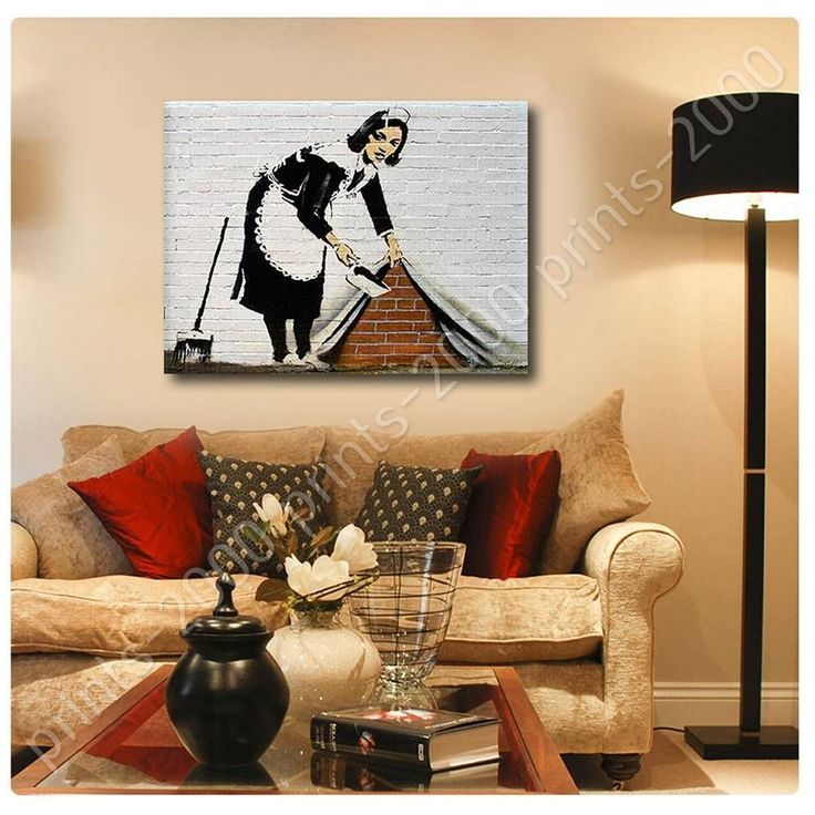 Poster Or Sticker Decals Vinyl Cleaning Lady Banksy Posters For Living Room
