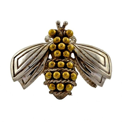 Tiffany-Co-Rare-Vintage-Silver-Yellow-Gold-Bumble-Bee-Brooch-Pin
