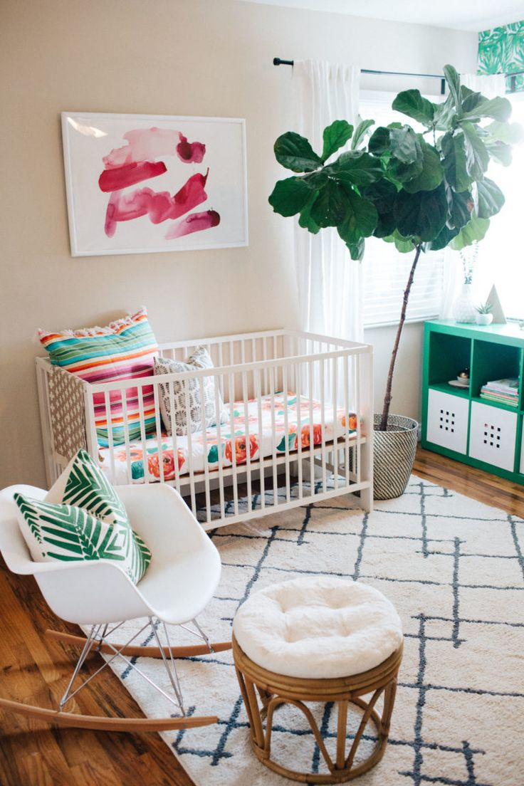 Loving this girly side of a shared boy/girl nursery. I think every nursery needs a fiddle leaf plant!