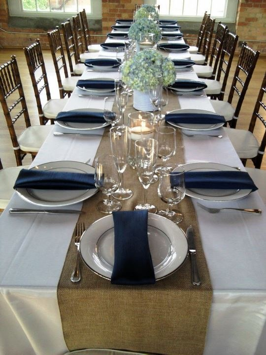 Burlap Runner With Navy Napkins Similar Color Sceme Our Runners Will Be More Linen