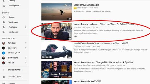 Fake news about Keanu Reeves and blood of babies tops YouTube search
